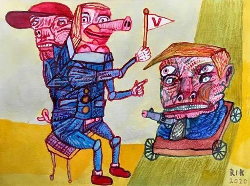 Rik VAN IERSEL - Dessin-Aquarelle - Corona journal daily drawings: Make me huge again!