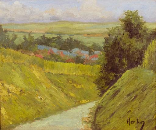 Auguste HERBIN - Peinture - Paysage de campagne