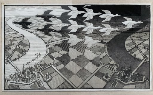 Maurits Cornelis ESCHER - Stampa-Multiplo - Day and Night
