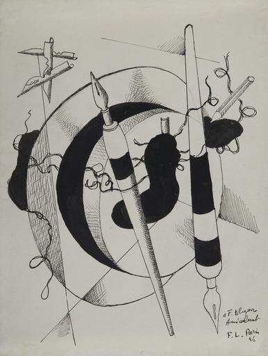 费尔南‧雷杰 - 水彩作品 - Composition aux porte plumes et crayon