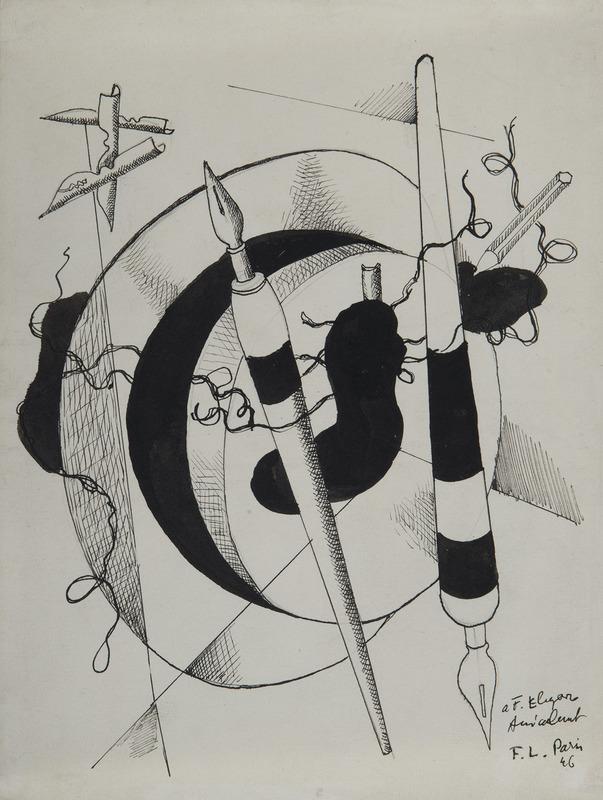 Fernand LÉGER - Drawing-Watercolor - Composition aux porte plumes et crayon