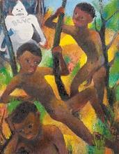 Carry HAUSER - Painting - Spielende Knaben und der weiße Dämon