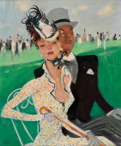 Jean Gabriel DOMERGUE - Painting - Garden Party