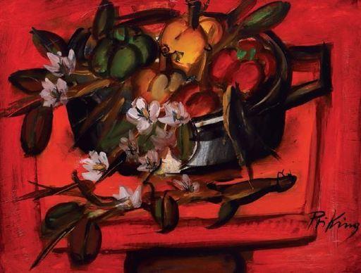 Franz PRIKING - Pintura - Composition aux fleurs et aux pommes