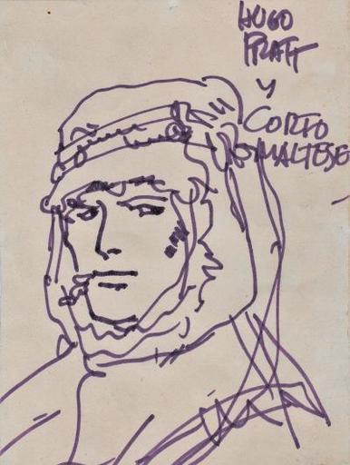 Hugo PRATT - Drawing-Watercolor - Orginal drawing of Corto Maltese