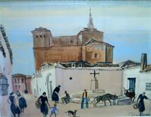 Albert DECARIS - Dibujo Acuarela - Scène de rue