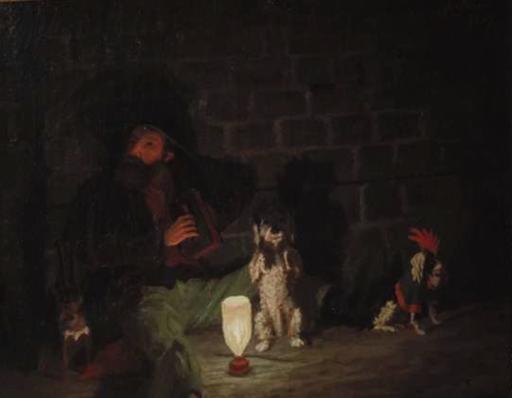 Pierre DE SALIS-SOGLIO - Pintura - Vagabund  mit seinen 3 Hunden