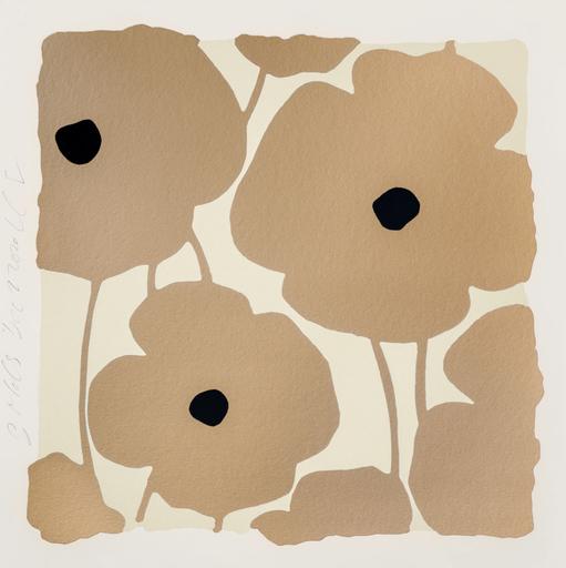 Donald SULTAN - Druckgrafik-Multiple - Three Poppies (Gold)