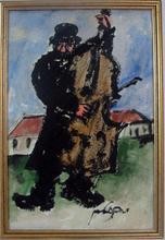 Moshe BERNSTEIN - Painting - The Jewish Cellist