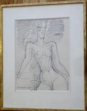 Marcel GROMAIRE - Dibujo Acuarela - Dessin de femme à mi-corps de face