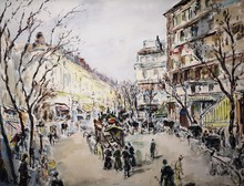 Arturo SOUTO - Dessin-Aquarelle - Escena parisina