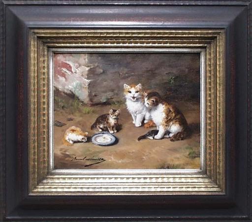 "Alfred Arthur BRUNEL DE NEUVILLE - Pittura -  ""Cat Family"", Oil Painting, late 19th Century"