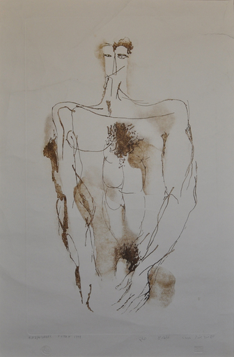 Ismail FATTAH - Grabado - Portotait of Nude man