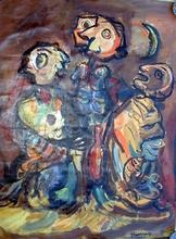 Michel VOJIC - Pintura - TROIS AMIS SOUS LA LUNE