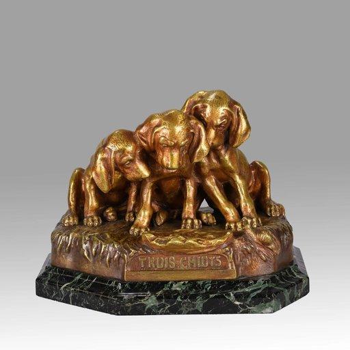 Georges Lucien VACOSSIN - Sculpture-Volume - Trois Chiots