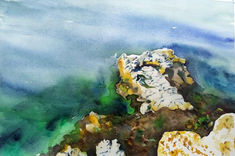 Galina VINDALOVSKAIA - Drawing-Watercolor - Rock Sea Seascape