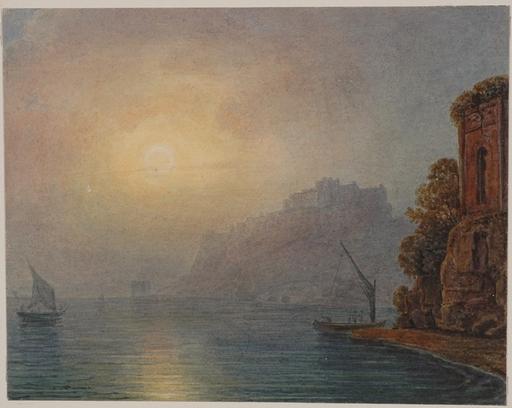 """Johann Nepomuk SCHÖDLBERGER - Drawing-Watercolor - """"Italian Coastal Scene"""", Watercolor"""