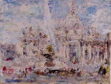 Luigi MANTOVANI - Peinture - Piazza San Pietro, Roma