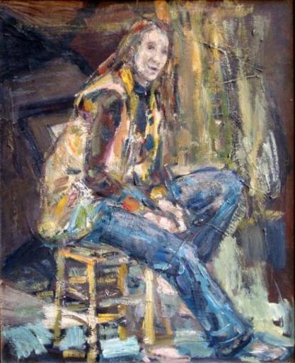 Léopold KRETZ - Painting - Girl on a Chair