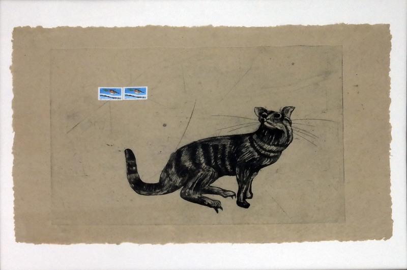Dorte HÄRTEN - Estampe-Multiple - Katze mit Briefmarke