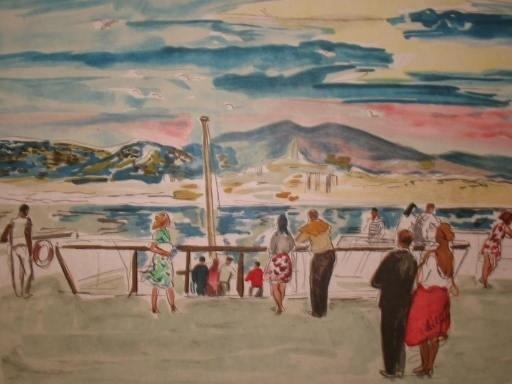 Yves BRAYER - Grabado - La corniche à Marseille,1974.
