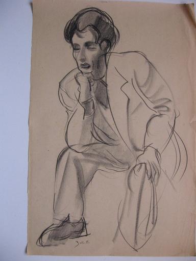 César BOLLETTI - Dessin-Aquarelle - homme assis