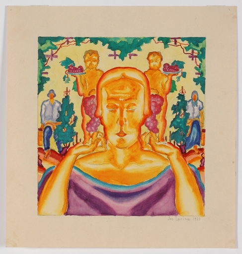 "Josef LACINA - Dibujo Acuarela - ""Wine harvest"", 1923, watercolor"