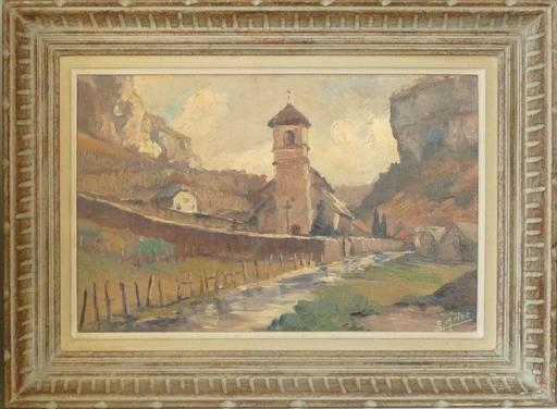 Edmond Amédée MELOT - Painting - l eglise de beaunne les mesieurs jura 1959