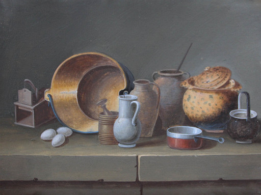 Johann Rudolf FEYERABEND - Drawing-Watercolor - Nature morte aux objets de cuisine