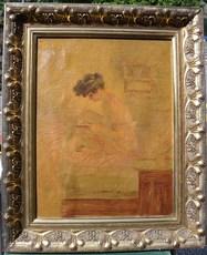 Albert Paul GUILLAUME - Peinture - Femme en déhabillé écrivant