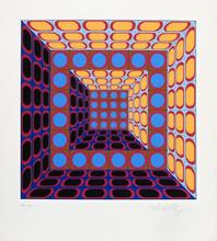 Victor VASARELY - Estampe-Multiple - Composition cinétique en bleu, orange et violet