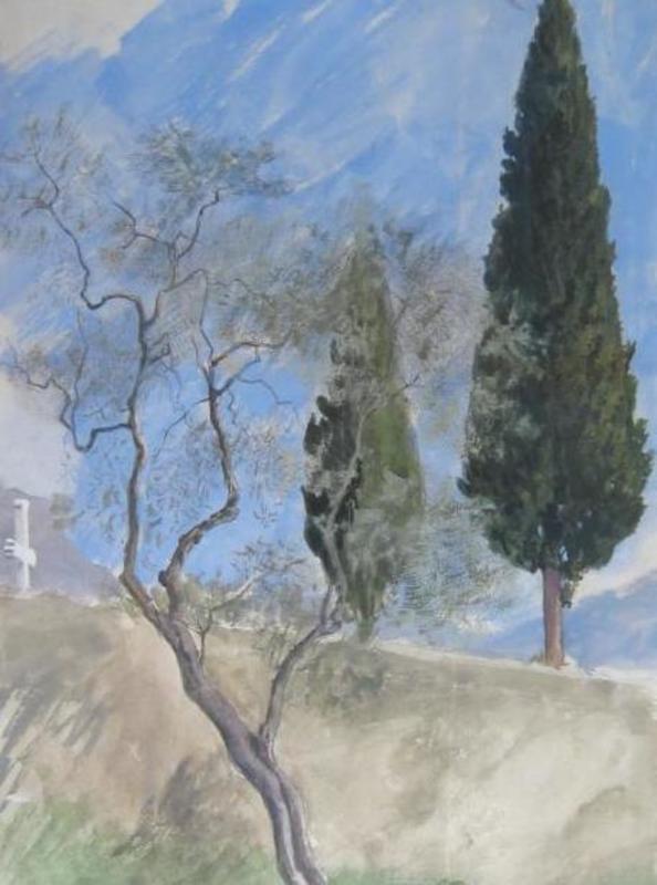 Ernst GRANER - Dibujo Acuarela - Landschaft mit Pinie