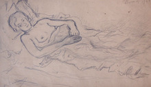 Mikhail LARIONOV - Drawing-Watercolor - Woman Lying on Bed