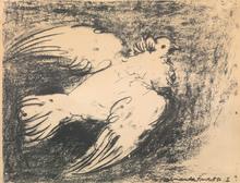 """Pablo PICASSO - Print-Multiple - """"La colombe en vol, Fond Noir"""""""