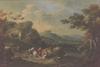 "Johann Christian BRAND - Gemälde -  ""Alpine Landscape with Wanderer"", Oil on Panel"
