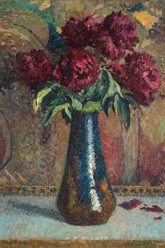 亨利•马丁 - 绘画 - Pivoines rouges dans un vase Dalpayrat