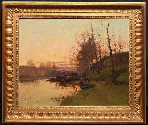 Eugène GALIEN-LALOUE - Painting - Flusslandschaft -Barbizon-