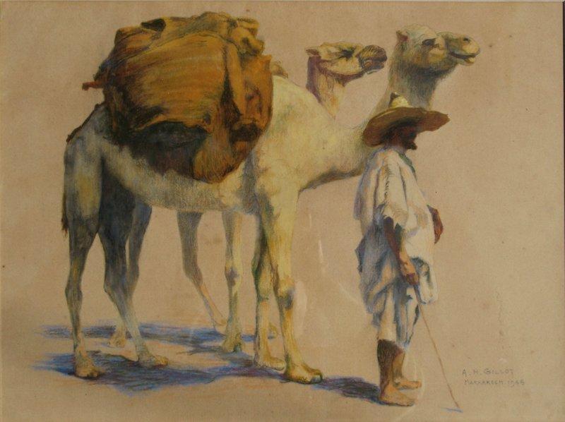 "Adrien-Henri GILLOT - Disegno Acquarello - ""LE CHAMELIER DE MARRAKECH"""