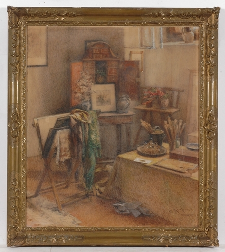 "Josef KÖPF - Drawing-Watercolor - ""Artist's Studio"", 1928, Watercolor"