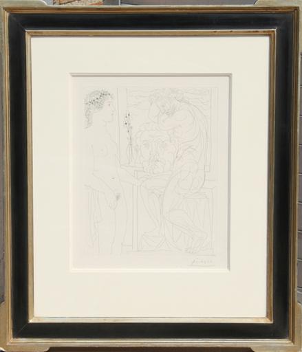 巴勃罗•毕加索 - 版画 - Nude Model and Sculptures (Bloch 185)