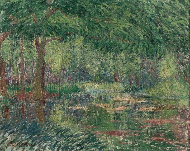 Gustave LOISEAU - Gemälde - Les grands arbres en bord de rivière