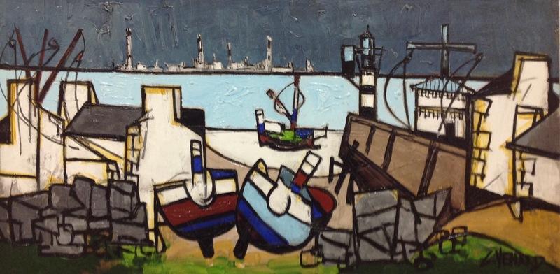 Claude VENARD - Painting - Les trois barques