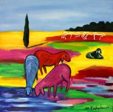 Menashe KADISHMAN - Painting - Herd in the pasture