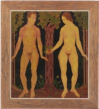 """Josef LACINA - Painting - """"Adam and Eve"""", 1920s, Oil Painting"""