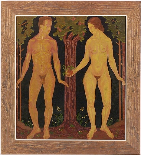 "Josef LACINA - Pintura - ""Adam and Eve"", 1920s, Oil Painting"