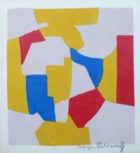 塞尔日•波利雅科夫 - 版画 - Composition grise  jaune rouge bleue