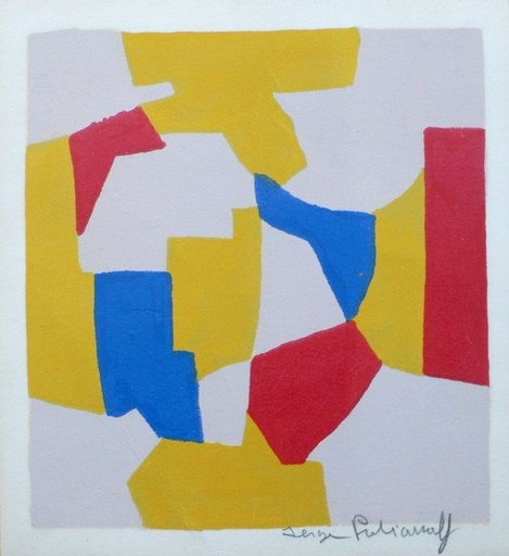 Serge POLIAKOFF - Print-Multiple - Composition grise  jaune rouge bleue
