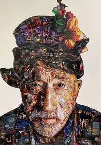 VIRUT P. - Dessin-Aquarelle - Old Man with flowers