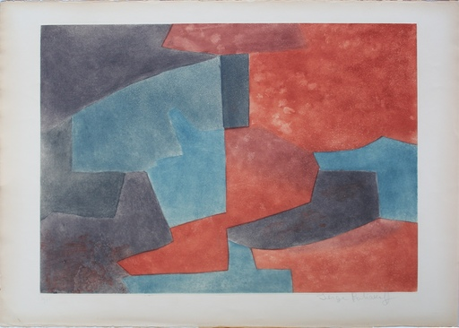 Serge POLIAKOFF - Estampe-Multiple - Composition grise, bleue et rouge