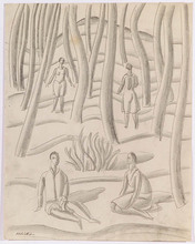 Alfred HAGEL - Drawing-Watercolor -  People in Forest